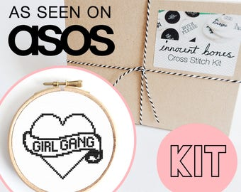 Girl Gang Modern Cross Stitch Kit - easy chart design with guide rude bad taste funny quote embroidery kit tattoo style heart pop culture