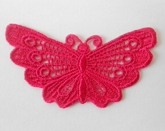Butterfly lace pink fuchsia 7 x 4 cm