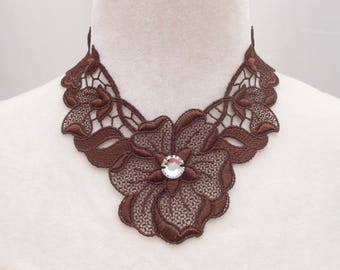 Brown lace necklace