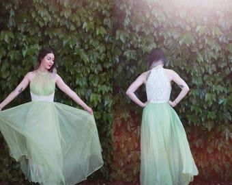 Vintage 1950s Mike Benet XS pastel lace mint green maxi dress - high neck / mock neckline - sleeveless  / bustier / formal / prom / wedding