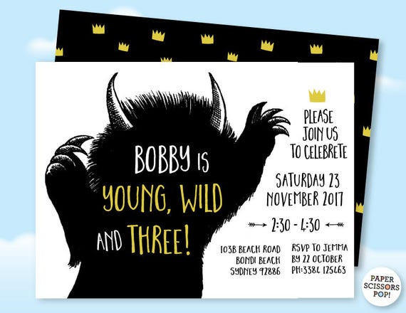 Wild Things Invite Template Where the Wild Things Are Birthday
