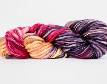 Thick and Thin Yarn, Wool Yarn,  Temptation Tweed Yarn,  Worsted Yarn, Aran Weight yarn, Blanket Yarn,  Wine & Berries  Color