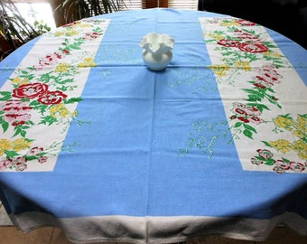 Vintage tablecloth, lunch cloth, blue