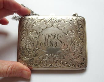 Antique Blackinton Sterling Silver Dance Purse, With Flourishes and Initials KES, 92.3 Grams