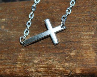 Sideways Cross silver Bracelet