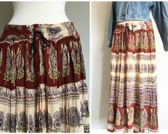 Vintage INDIAN GAUZE SKIRT/Printed Maxi Skirt/size Medium-Large