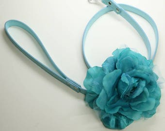 Aqua Blue Floral Leash, Wedding pet accessory, Leather Leash, Custom leash, Beach wedding