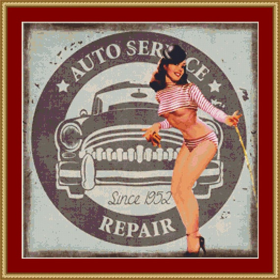Auto Repairs Cross Stitch Pattern /Digital PDF Files /Instant downloadable