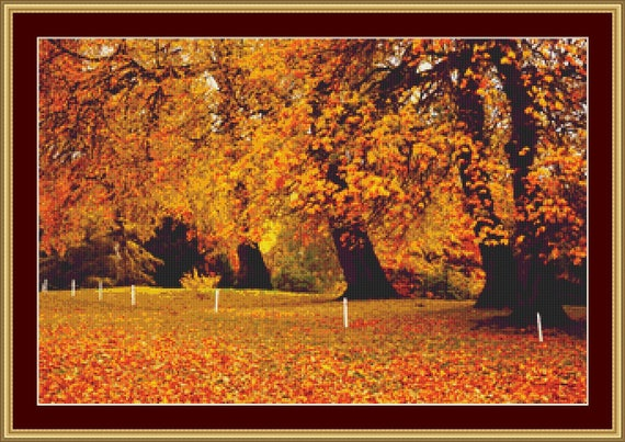 Autumn in Park Cross Stitch Pattern /Digital PDF Files /Instant downloadable