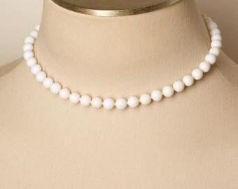 Vintage White Bead Necklace