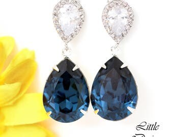 Navy Blue Dangle Earrings Navy Bridesmaid Earrings Navy Blue Wedding Earrings Navy Silver Earrings CZ Earrings Swarovski Earrings MO31P