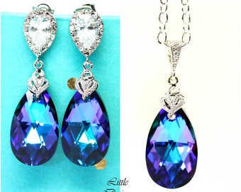 Pear Bridal Jewelry Bridesmaid Jewelry Purple & Blue Jewelry CZ Earrings Crystal Earrings Purple Earrings Peacock Wedding Swarovski HE32JS