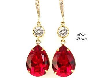 Red Earrings Ruby Earrings Dark Red Earrings Swarovski Earrings Bridesmaid Earrings Bridal Earrings Dangle Earrings SI31HC
