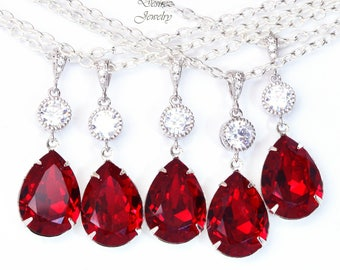 10% OFF SET of 6 Bridesmaid Gift Red Necklace Bridesmaid Necklace Swarovski Necklace Ruby Necklace Garnet Necklace Bridal Necklace SI31N