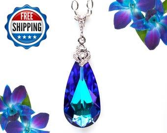 Purple Necklace Bridal Necklace Swarovski Crystal Heliotrope Pendant Bridesmaid Necklace CZ Necklace Purple Pendant Blue and Purple HE33N