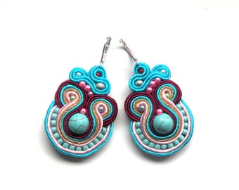 Earrings-Soutache-Hand Embroidered - Turquoise