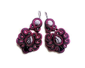 Earrings-Soutache Jewelry-Hand embroidery-OOAK- Dark Cherry