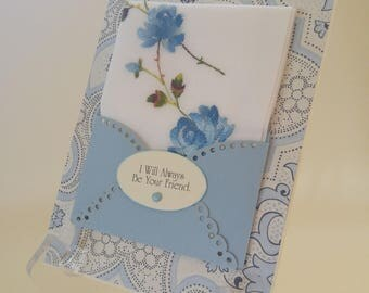 Vintage Embroidered Handkerchief Blue Roses Friendship BFF Bridal Shower Gift Thinking Of You Just Because Birthday Keepsake Hankie Card