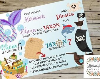 MERMAID and PIRATE SIBLINGS Birthday Invitation, Mermaids & Pirates Siblings Birthday Invite, Customized Digital Printable