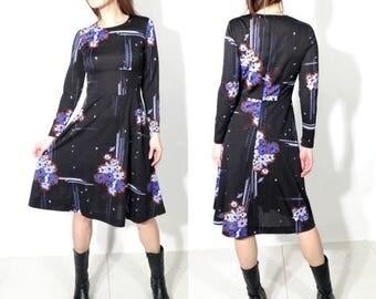 SALE 80s Dress / Floral Dress / Midi Dress / Vintage Dress / Long Sleeve Dress/ Large Floral Dress / Dress Size 40