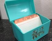 Vintage Turquoise Recipe Box Plastic Recipe File Box Card Storage Box