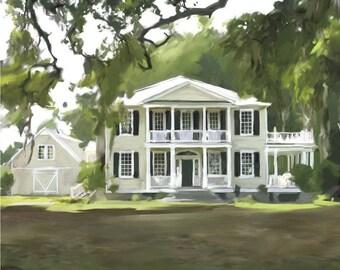 Home Decor - House Painting - Home Portrait - Custom Portrait - Real Estate - Personalized Art