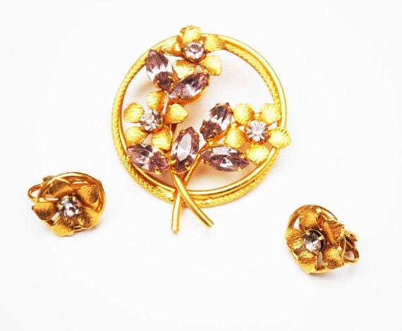 Purple Flower brooch and earring set - Lavender rhinestone - gold plated floral with clip on earrings-gift for her