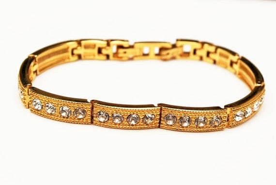 Rhinestone Link Bracelet - gold link bangle -Tennis bracelet