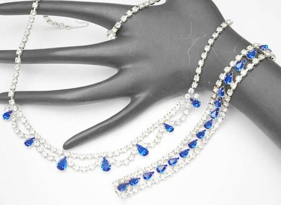 Blue Rhinestone Necklace and Bracelet - B David signed - Silver tone - Jewelry Set - Mid Century -Wedding Bride