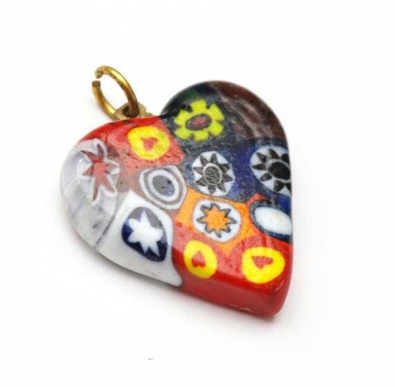 Venetian Glass Heart Pendant - red Blue white  yellow Art glass -   Italian Murano glass -brass  - jewlery making pendant charm