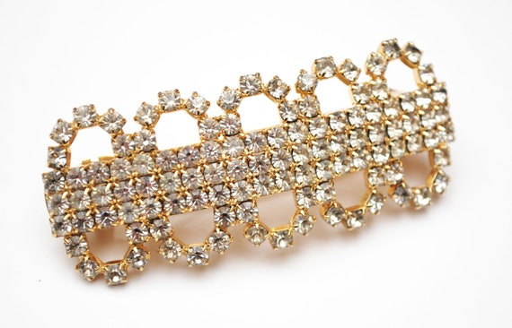 Rhinestone Barrette Hair clip - Signed Made in France - Clear crystal - gold - Wedding Bride