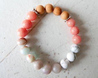 Bracelet Yoga Mala Love Bracelet de guérison Chalcedony Sandalwood Howlite Aqua Terra Jasper