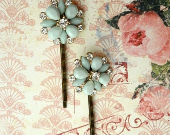 Bridal Bobby Pins, Mint Green Bobby Pins, Rhinestone Bridal Hair Accessory, Shabby Chic Hair Pins, Bridal Hair Pins Bertha Louise Designs