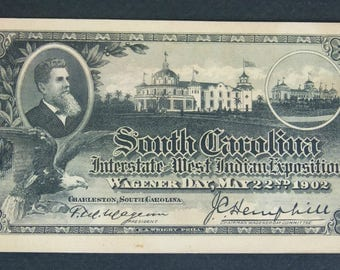 South Carolina Interstate West Indian Exposition - Wagener Day Ticket May 22nd 1902 - The Charleston Exposition