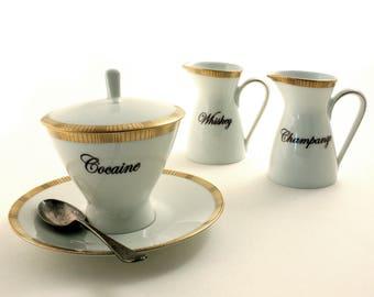 Funny Tea Party, Bridal Tea Party, Cocaine Whiskey Champange, Redesigned Vintage Porcelain Sugar Pot Creamer, Alcohol Drug, Fun Gift Ideas