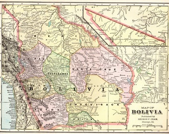 Bolivia Map Etsy - Bolivia map