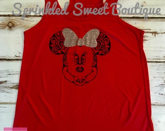 Minnie Mouse Glitter Bow Inspired Custom Tank Shirt Women Girls Kid Matching Family Perfect for Disney World Trip First Birthday