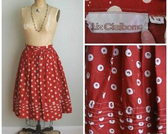 Vintage 1980's Rusty Circle Full Skirt// Liz Claiborne// Medium// Summer Skirt