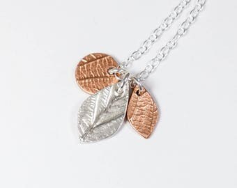 Copper Leaf - Silver Necklace - Cluster Necklace - Silver Leaf Pendant - Gift for Her - Copper Pendant - Leaf Necklace - Woodland Jewellery