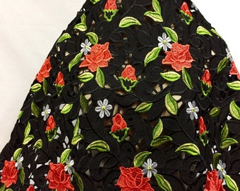 Black Floral Lace, Embroidered Fabric, Embroidery, Floral Embroidery, Lace Fabric, Dress Lace, Dress Fabric, Embroidered Fabric