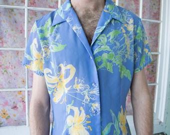 Vintage Blue Floral Shirt