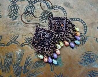 Antiqued Copper Chandelier Earrings Pastel Czech Glass