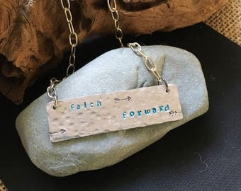 Silver hand stamped hammered faith forward necklace