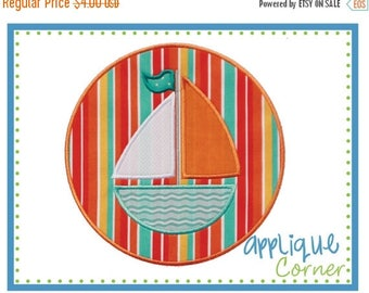 50% Off Sailboat applique digital design for embroidery machine by Applique Corner