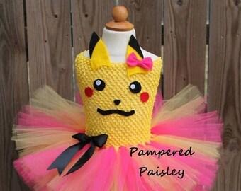 Halloween sale Pokemon Pikachu inspired tutu dress, pikachu tutu, pikachu costume, pokemon birthday, pokemon dress