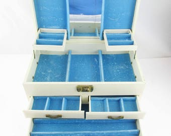 Large Vintage Jewelry Box -  Ivory With Sky Blue Velvet Inside - Side Handles - Display - Jewelry Box -  Blue Inside - Ivory Outside