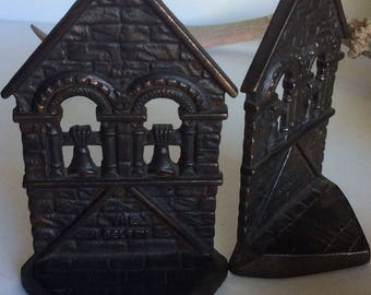 "Cast Iron Bookends ""The Belfry"" Antique c. 1928 Book Ends"
