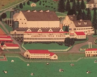 """The Carnation Milk Farms Countryside Art Print 30"""" x 24"""" Cabin Country Carnation Washington Wall Decor by CA Brown 1980's"""