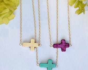 ON SALE ON Sale - Sideways Cross Necklace, Tiny Sideways Turquoise Cross Necklace, Kelly Ripa Sideways Cross Necklace, Cross pendant, Mother