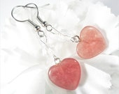 Rhodocrosite Earrings, Pink Heart Earrings, Gemstone Earrings, Bohemian Earrings, Rhodocrosite Jewelry, Womens Jewelry, Heart Jewelry